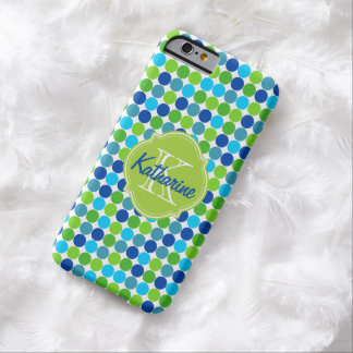 Blue Green Polka Dot Monogram Name Barely There iPhone 6 Case