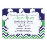 Blue Green Polka Dots Chevron Invitation Custom Invite