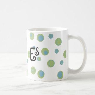 Blue Green Polka Dots Monogrammed Mugs
