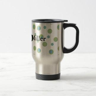 Blue Green Polka Dots Monogrammed Travel Mug