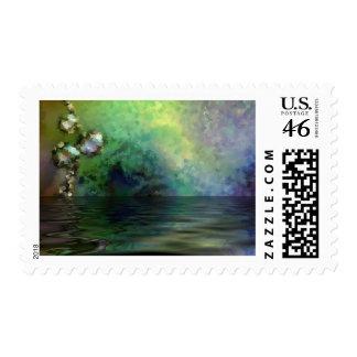 Blue Green Pond Postage Stamp