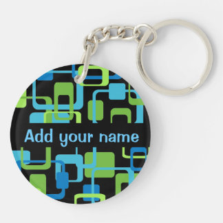 Blue Green Psychedelic Squares Retro Personalized Double-Sided Round Acrylic Keychain