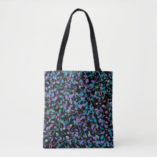 Blue Green Purple and Black Music Notes Tote Bag
