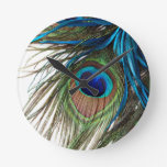 Blue Green Purple Exotic Peacock Feather Clock