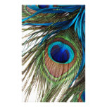 Blue Green Purple Exotic Peacock Feather Customized Stationery