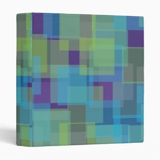 Blue Green Purple Squares Pattern 3 Ring Binder