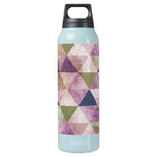 Blue, Green & Purple Triangle Geometric Design Insulated Water Bottle