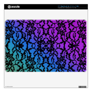 Blue Green  Purple with Black Lace iPad Air Skin Decals For The MacBook