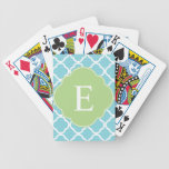 Blue Green Quatrefoil Monogram Deck Of Cards