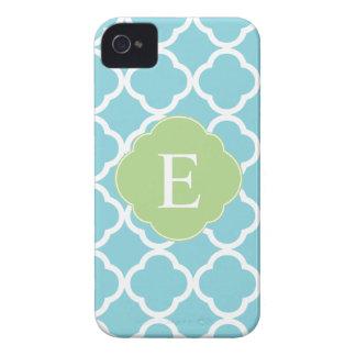 Blue Green Quatrefoil Monogram iPhone 4 Case