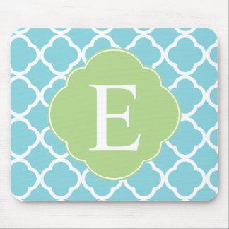 Blue Green Quatrefoil Monogram Mouse Pad