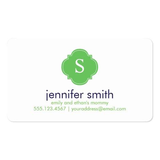 Blue Green Quatrefoil Monogram Stripes Pattern Business Card Template