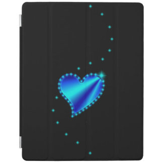 Blue green Rainbow Heart with Stars on black iPad Cover