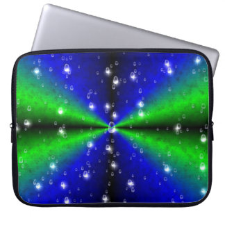 blue green rainbow with raindrops and stars laptop sleeve