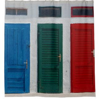 Blue Green Red Doors Shower Curtain