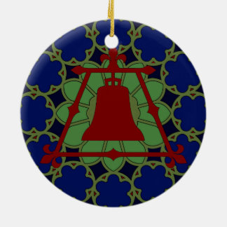 Blue, Green Red Stained Glass Fleur Design Ceramic Ornament