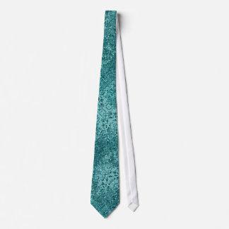 Blue-Green Retro Geometric Pattern Tie