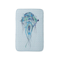 Blue-Green Retro Jellyfish Over Blue Background 2 Bathroom Mat