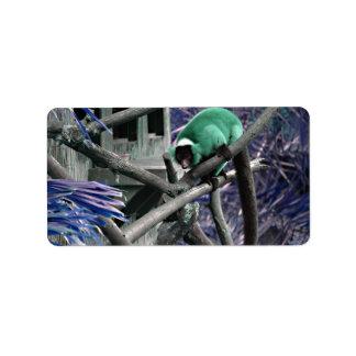 blue green ruffed lemur colorized primate personalized address labels