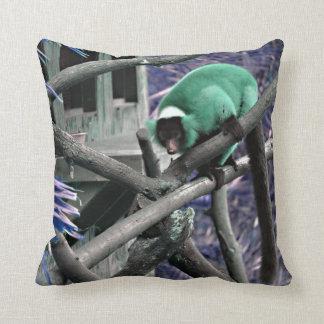 blue green ruffed lemur colorized primate throw pillow