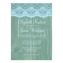 Blue & Green Rustic Barn Wood Wedding Invitations Personalized Invite