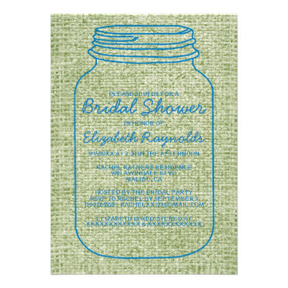 Blue Green Rustic Mason Jar Bridal Shower Invites Personalized Announcement