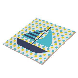Blue Green Sail Boat Tile