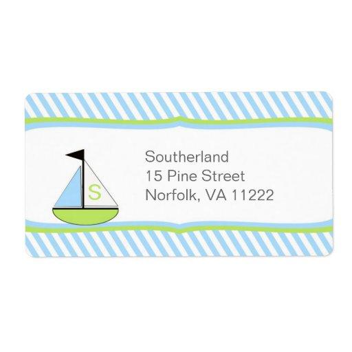 Blue Green Sailboat Baby Shower Address or Favor Label