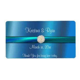 Blue& Green Satin Ribbon Wedding Wine/Water Label