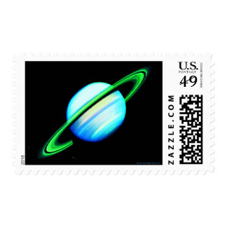 Blue & Green Saturn Postage Stamps
