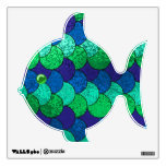 Blue & Green Scaley Fish Wall Decal