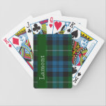 """Blue &amp; Green Scottish Tartan Plaid Playing Cards<br><div class=""""desc"""">Handsome custom playing cards done in the blue and green Lamont Scottish tartan plaid pattern.  A green stripe going down the left side of the card has white text reading Lamont.  Personalize to change the text to read anything you wish.  Great for family and a great gift idea.</div>"""