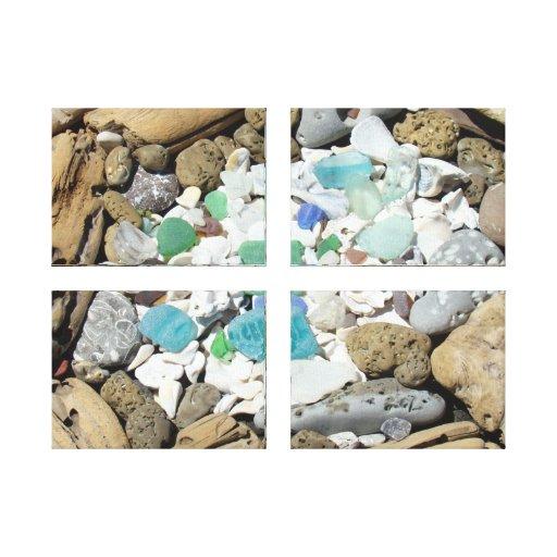 Blue Green Sea Glass canvas art prints Sea Shells Canvas Print