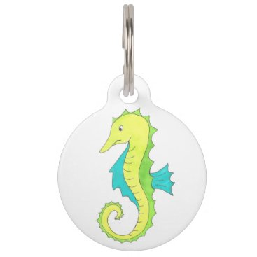 Beach Themed Blue Green Sea Horse Seahorse Beach Ocean Marine Pet Name Tag