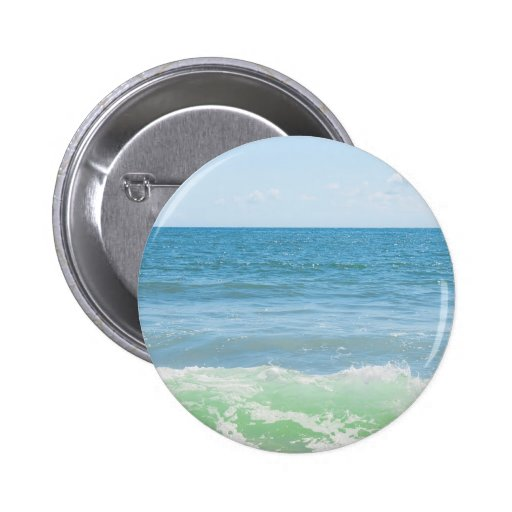 Blue Green Sea Peaceful Waves 2 Inch Round Button