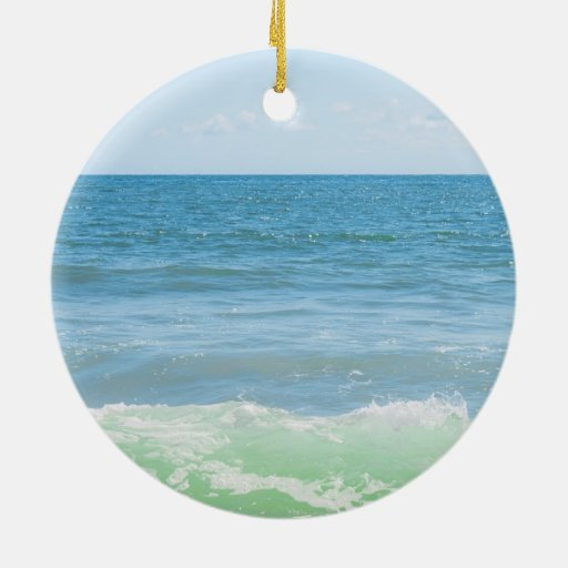 Blue Green Sea Peaceful Waves Christmas Ornaments
