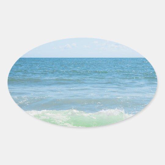 Blue Green Sea Peaceful Waves Oval Sticker