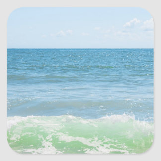 Blue Green Sea Peaceful Waves Square Sticker