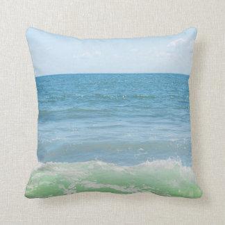 Blue Green Sea Peaceful Waves Throw Pillow