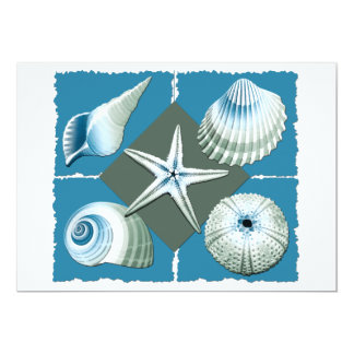 Blue & Green Sea Shells 5x7 Paper Invitation Card