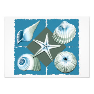 Blue Green Sea Shells Custom Announcements