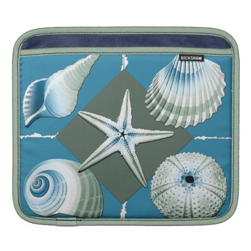 Blue & Green Sea Shells Sleeves For iPads