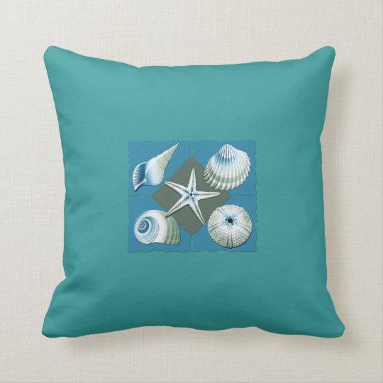Blue & Green Sea Shells Throw Pillow