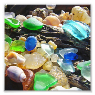 Blue Green Seaglass art Photography nature Beach Photo Print