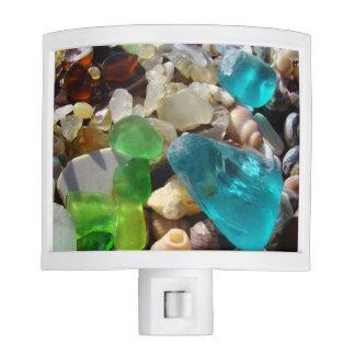 Blue Green Seaglass Night Lights custom Sea Glass