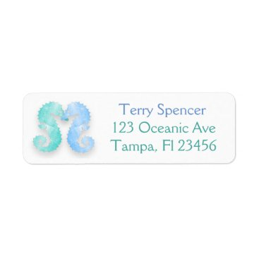 Beach Themed Blue Green Seahorses Return Address Label