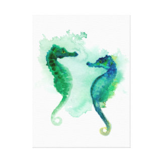 Blue green seahorses white canvas seahorse stretched canvas print
