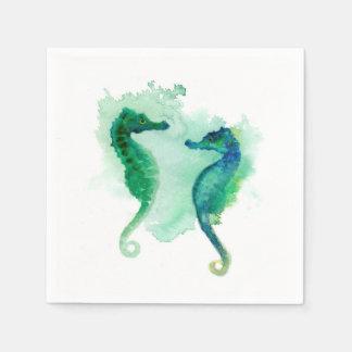 Blue green seahorses white paper napkins seahorse disposable napkin