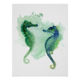 Blue green seahorses white poster seahorse posters