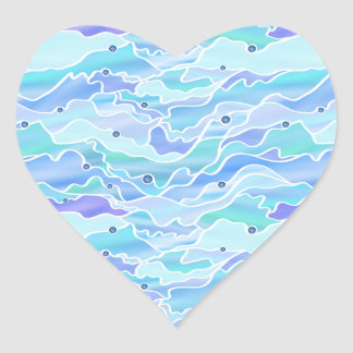 Blue Green Seascape Stained Glass Abstract Heart Sticker